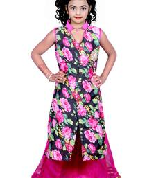 Buy Pink color net fabric bhagalpuri print work lehegas kids-lehenga-choli online