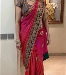 Buy Pink embroidered chiffon saree with blouse madhuri-dixit-saree online