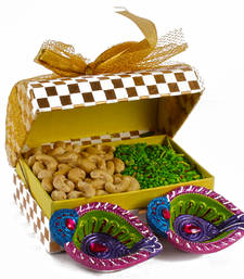 Diwali green mouth freshener with cashew gift and earthen diya set shop online