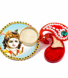 Buy Bal krishna colorful printed diya with kumkum tikka container for bhai dhooj diwali-gift online