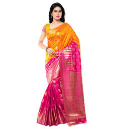 Buy Mustard woven art silk saree with blouse kanchipuram-silk-saree online