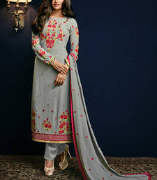 Buy Grey embroidered georgette semi stitched salwar with dupatta salwars-and-churidar online