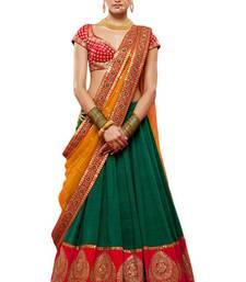 Buy Green embroidered banglory silk unstitched lehenga choli lehenga-choli online