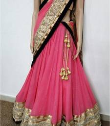 Buy Pink georgette embroidered unstitched lehenga choli navratri-lehenga-chaniya-choli online