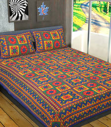 Buy Cotton jaipuri king size double bed sheet with 2 pillow cover bed-sheet online