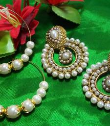 Buy 1 Get 1 free white pearl polki earrings shop online