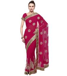 Buy Pink hand woven georgette saree with blouse georgette-saree online