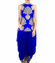 Buy Royal blue silk embroidered semi stitiched salwar indowestern online