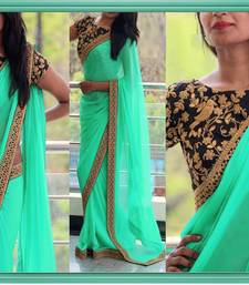 Buy Sea green embroidered georgette saree with blouse wedding-gift online