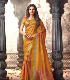Buy Yellow plain tussar silk saree with blouse tussar-silk-saree online