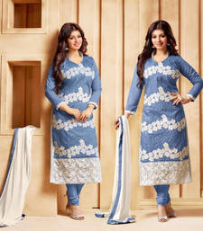 Buy Sky blue chanderi silk embroidered semi stitiched salwar with dupatta ayesha-takia-salwar-kameez online