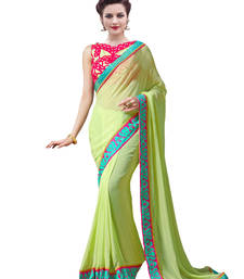 Buy Green embroidered faux georgette saree with blouse georgette-saree online