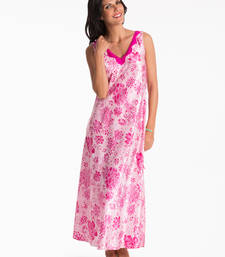 Buy fuchsia floral long night dress nightwear online