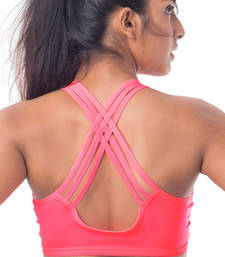 "Buy Neon Pink ""Perform"" Strappy Sports Bra bra online"