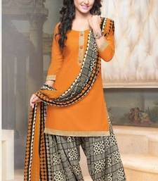 Buy Orange glaze cotton embroidered unstitched salwar with dupatta salwar-kameez-below-2000 online