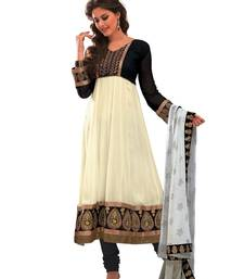 Buy Libas-Off White Unstitched Designer Anarkali Suit dress-material online