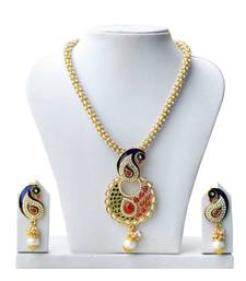 Buy Super-Lite Peacock Design Multicolor Pearl Set necklace-set online
