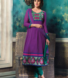 Buy Violate embroidered cotton unstitched salwar with dupatta salwars-and-churidar online