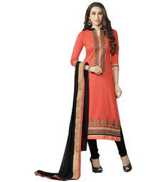 Buy Orange embroidered cotton semi stitched salwar with dupatta salwars-and-churidar online