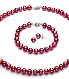 Buy Shell pearl Burgundy Red semi precious gemstone-necklaces gemstone-necklace online