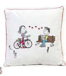 Buy White Cotton Printed Cushion Cover with Filler gifts-for-mom online