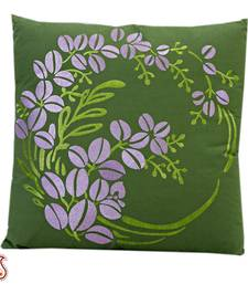 Buy Floral embroidered Green and Purple Cushion cover with Filler gifts-for-mom online