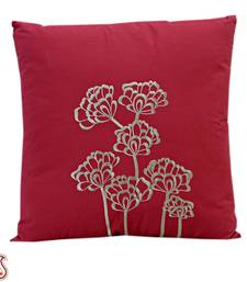 Buy Coral Pink, Brown Embroidery Cotton Cushion cover with Filler gifts-for-mom online
