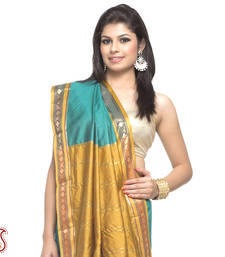 Buy Dark Cyan and Mustard Damask stripe lustrous Art Silk Saree gifts-for-mom online