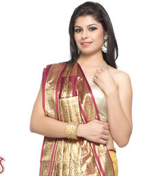 Buy Handloom Design Beige and Maroon silk Saree with Zari Pallu gifts-for-mom online