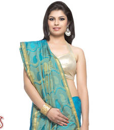 Buy Tufts Blue Jacquard Silk Saree with Rich Resham border and Pallu gifts-for-mom online