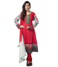 Buy Bright Red Anarkali suit with floral lace and contrast sleeves gifts-for-mom online