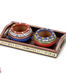 Buy Set of 2 Hand painted Terracotta Pots with Tribal Motifs and Tray gifts-for-mom online