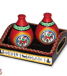 Buy Beautiful Hand painted Terracotta salt and pepper set gifts-for-mom online