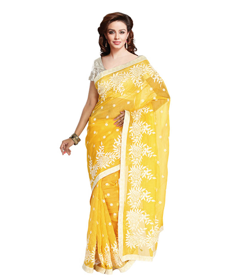 Buy Ethnic Dukaan Cotton Yellow Embroidery Saree Online