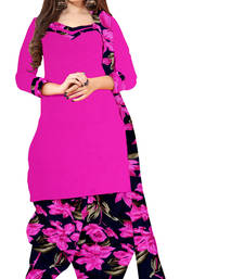 Buy Pink embroidered crepe unstiched salwar with dupatta punjabi-suit online