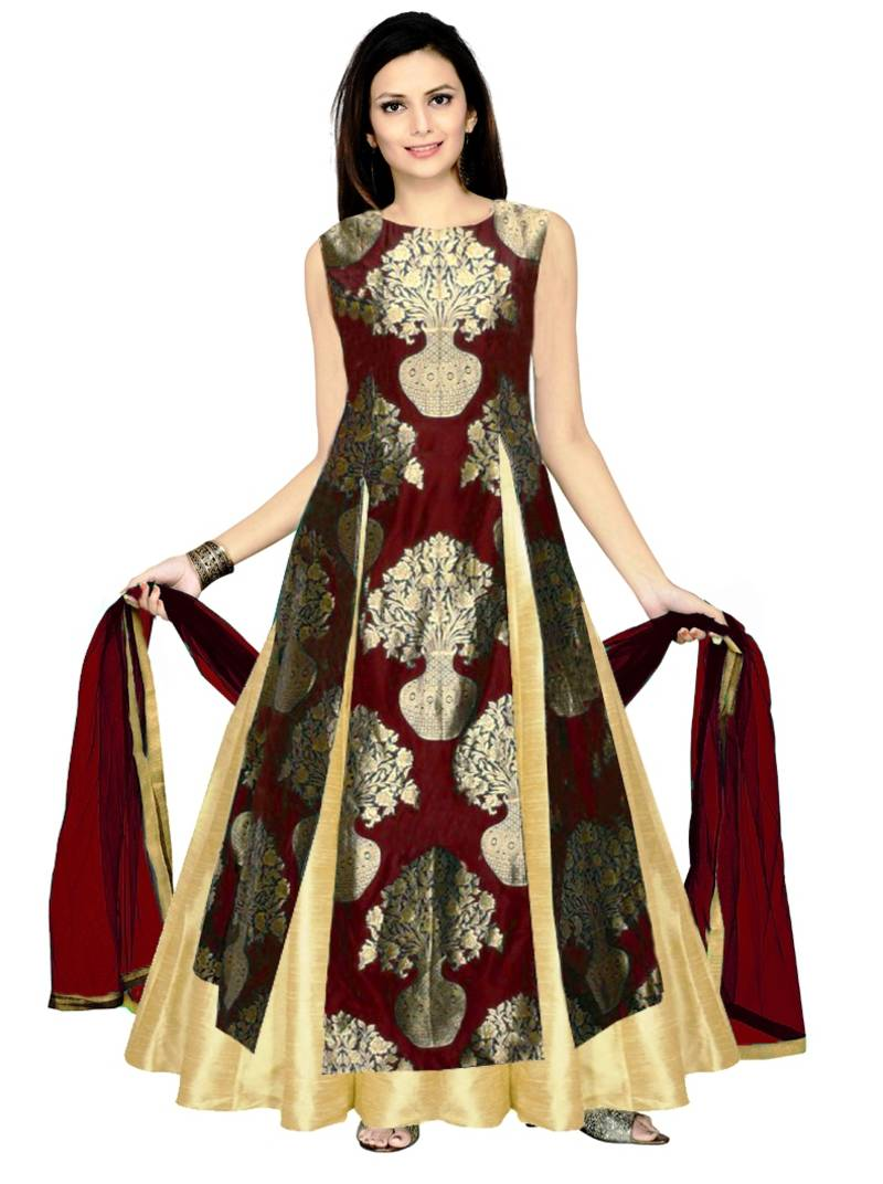 Buy Golden Silk Plain Stitched Lehenga With Dupatta Online