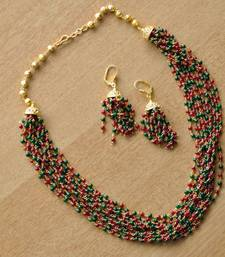 Buy Layered Red & Green Mala & Earring - 12 line necklace-set online