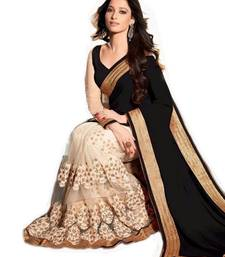 Buy Black & Cream embroidered georgette saree with blouse party-wear-saree online