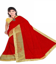 Buy Red Color embroidered georgette saree with blouse heavy-work-saree online