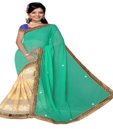 Buy Green & Cream embroidered georgette saree with blouse heavy-work-saree online