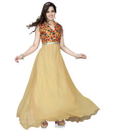 Buy Beige georgette printed semi stitiched party wear gowns gifts-for-wife online