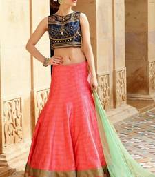 Buy pink banglori silk embroidered unstitched lehenga choli punjabi-lehenga online