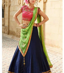 Buy blue banglori silk embroidered unstitched lehenga choli punjabi-lehenga online