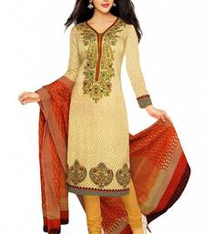 Buy Cream printed poly cotton salwar with dupatta dress-material online