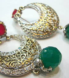 Buy ANTIQUE VICTORIAN RED N GREEN PEARLS CHAND BALI hoop online