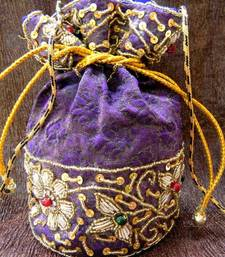 Buy Handmade Brocade Beadwork Batwa- Purple potli-bag online