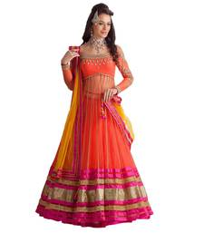 Buy Orange embroidered net semi stitched lehenga punjabi-lehenga online