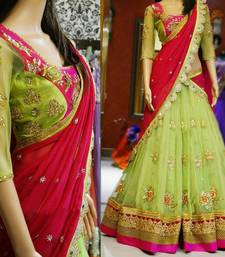 Buy Green Net embroidered unstitched lehenga choli lehenga-choli online