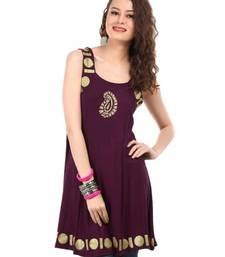 Buy  kukn058 Viscose Knit Wine Kurta kurtas-and-kurti online