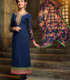 Buy Navy blue embroidered georgette salwar dress-material online